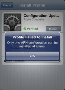 APN Configuration Installation Error